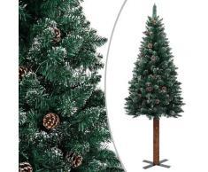 vidaXL Sapin de Noël mince bois véritable et neige blanche Vert 180cm