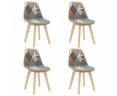 vidaXL Chaises de salle à manger 4 pcs Design de patchwork Gris Tissu