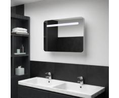 vidaXL Armoire de salle de bain à miroir LED 80x11x55 cm