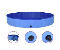 vidaXL Piscine pliable pour chiens Bleu 200x30 cm PVC