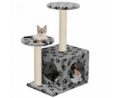 vidaXL Arbre à chat avec griffoir en sisal 60 cm Gris Motif de pattes