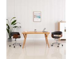 vidaXL Chaise pivotante de salle à manger Gris Bois courbé et tissu