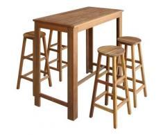 vidaXL Table et tabourets de bar 5 pcs Bois d'acacia massif