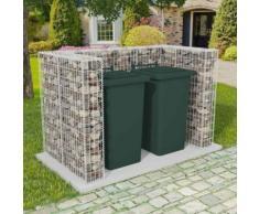 vidaXL Cadre à gabion de poubelle double Acier 180 x 100 x 120 cm