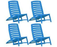 vidaXL Chaise de plage pliable pour enfants 4 pcs Plastique Bleu