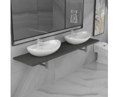 vidaXL Meuble de salle de bain à 3 pcs Céramique Gris