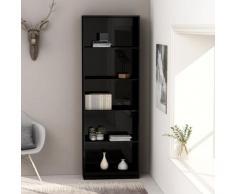 vidaXL Bibliothèque à 5 niveaux Noir brillant 60x24x175 cm Aggloméré