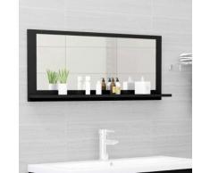 vidaXL Miroir de salle de bain Noir 90x10,5x37 cm Aggloméré
