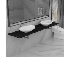vidaXL Meuble de salle de bain à 3 pcs Céramique Noir