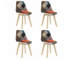 vidaXL Chaises à dîner 4 pcs Design de patchwork Multicolore Tissu