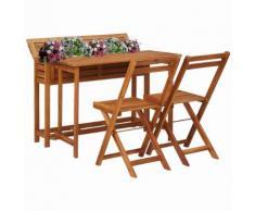 vidaXL Table de balcon avec 2 chaises de bistro Bois d'acacia massif