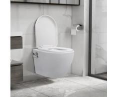 vidaXL Toilette murale sans bord à fonction de bidet Céramique Blanc