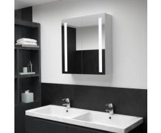 vidaXL Armoire de salle de bain à miroir LED 62x14x60 cm