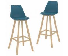 vidaXL Tabourets de bar 2 pcs Turquoise PP et bois de hêtre massif