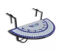 vidaXL Table suspendue de balcon Bleu et blanc Mosaïque