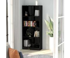 vidaXL Bibliothèque à 4 niveaux Noir brillant 60x24x142 cm Aggloméré