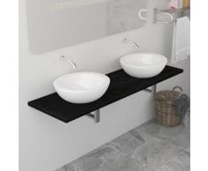 vidaXL Meuble de salle de bain Noir 160x40x16,3 cm