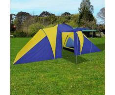 vidaXL Tente de camping pour 6 personnes Bleu marine/jaune