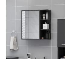 vidaXL Armoire à miroir de salle de bain Gris 62,5x20,5x64cm Aggloméré