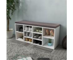 vidaXL Banc de rangement de chaussures avec 10 compartiments Blanc