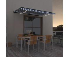 vidaXL Auvent manuel rétractable avec LED 450x350 cm Bleu et blanc
