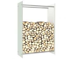 vidaXL Portant de bois de chauffage Blanc 80x35x120 cm Verre