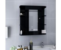 vidaXL Armoire à miroir de salle de bain Noir 66x17x63 cm MDF