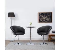 vidaXL Chaise pivotante de salle à manger Noir Similicuir