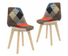vidaXL Chaises à dîner 2 pcs Design de patchwork Multicolore Tissu