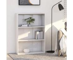 vidaXL Bibliothèque à 3 niveaux Blanc brillant 80x30x114 cm Aggloméré