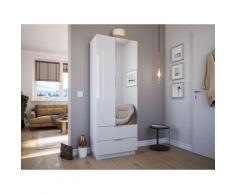Meuble chaussures Castello-M 1porte miroir tiroirs pour 24paires Blanc brillant