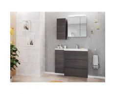 Ensemble meuble de SDB Adelia gauche avec armoire de toilette en Charbon antique