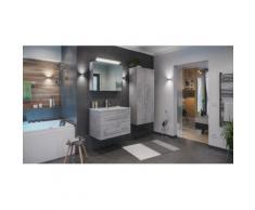Ensemble de SDB Firenze 80 (4 Pièces/C) en aspect béton avec armoire de toilette