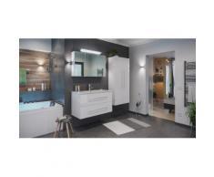 Ensemble de SDB Firenze 100 (4 Pièces/C) en blanc brillant, armoire de toilette