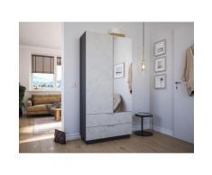 Meuble à chaussures Castello-L 1porte miroir tiroirs pour 30paires décor Pierre