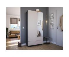 Meuble à chaussures Castello-L 1porte miroir tiroirs pour 30paires Creme-Grafit
