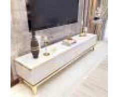 Meuble tv design marbre artificiel et couleur or Baron