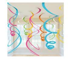 12 suspensions spirales multicolores Taille Unique