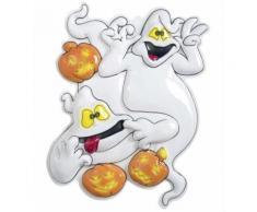 Décoration murale fantômes et citrouilles d'Halloween Taille Unique