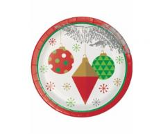 8 Petites assiettes en carton Sapin de Noël argenté 18 cm Taille Unique