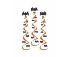 3 Suspensions spirales chauve-souris Halloween Taille Unique