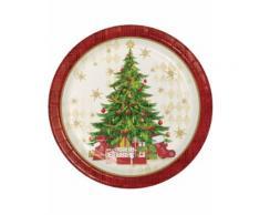 8 Assiettes en carton rouges sapin de Noël 22 cm Taille Unique