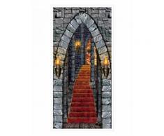 Décoration porte de châteaun hantée Halloween Taille Unique