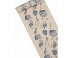 Chemin de table en lin coquillages 28 cm x 5 m Taille Unique