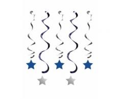 5 Suspensions spirales bleues et argentées garçon One Little Star Taille Unique