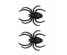 2 Araignées de décoration à paillettes 13 x 9 cm Halloween Taille Unique