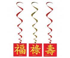 3 Suspensions nouvel an chinois 102 cm Taille Unique
