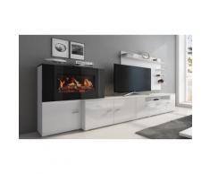 Meuble cheminée foyer électrique : blanc-blanc laqué