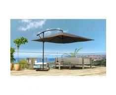 : Parasol déporté rectangulaire Lumpur 3x4m rotatif 360° chocolat
