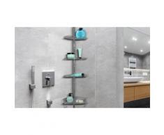 Étagère de douche 4 niveaux : Étagère de douche télescopique acier et PVC